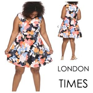 London Times Asian Floral Textured Stretch Dress